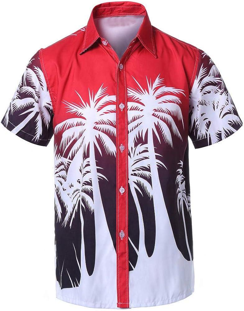 Yihaojia Men Blouse Mens Hawaiian Print Button Down Shirt Casual Short Sleeve Front-Pocket Beach Shirts