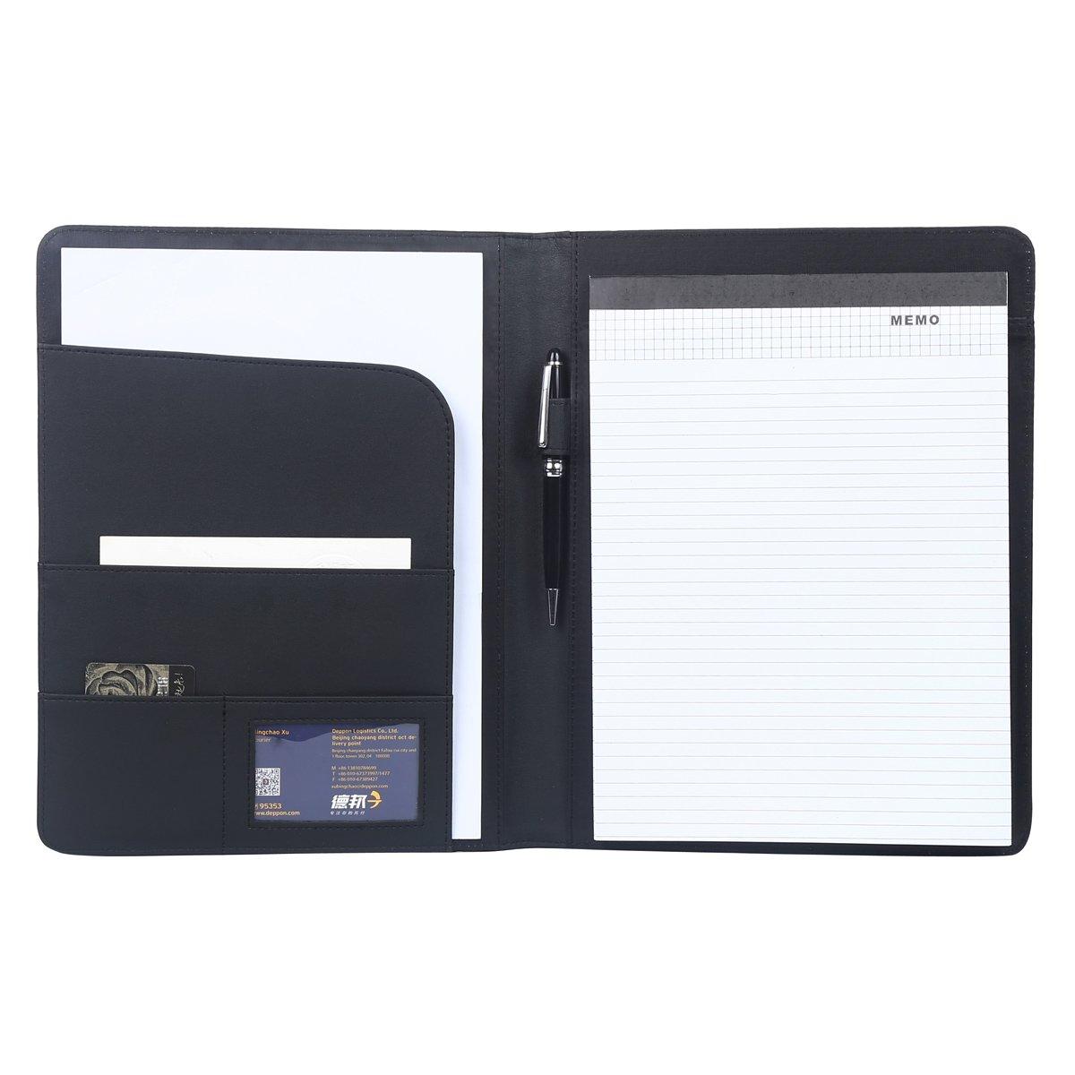 Leathario Marcas de Portafolio de Carpeta Plegable de Mano de PU para Hombres, Diseñado para Negocio y para Tomar Notas (Negro-A4): Amazon.es: Oficina y ...