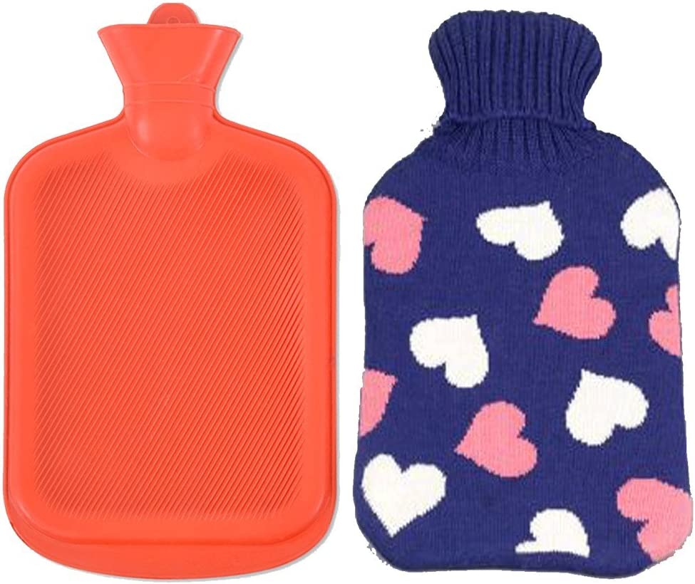 AQUAPAPA Large 1/2 Gallon Classic Non Toxic Natural Rubber Hot Water Bottle with Pink Hearts Blue Knit Cover, Back Pain Relief, Cold Feet Syndrome, 2 Liters
