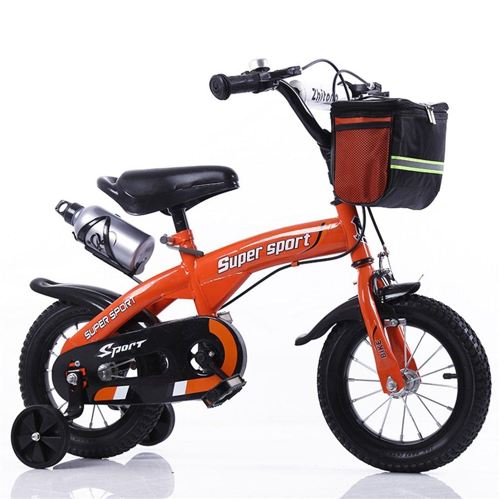 子供の自転車12|14|16|18インチ屋外の子供赤ちゃんキッドマウンテンバイク黒のトレーニングホイールで3-9歳の男の子の女の子のギフト|布バスケット|ウォーターボトルセーフオレンジ B078GRLGZF14 inches