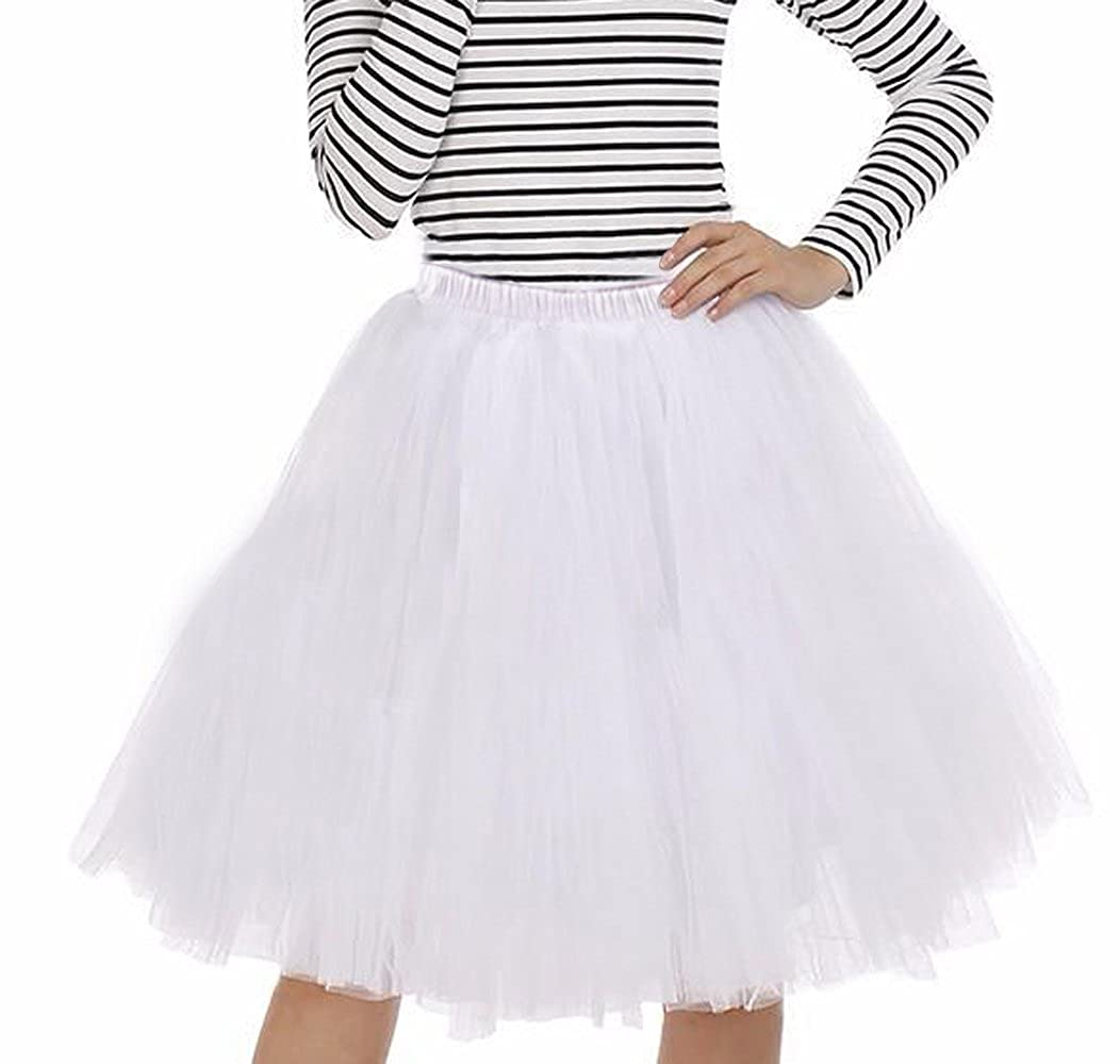 Women's Vintage A-Line 6 Layered Petticoat Crinoline Underskirt Swing Tutu Skirt imixshop