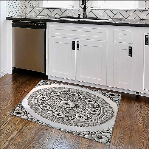 Printed floor mat silver lacquer show flower art balance global crafts thai artists place for Home and Office W34'' x H21'' by also easy