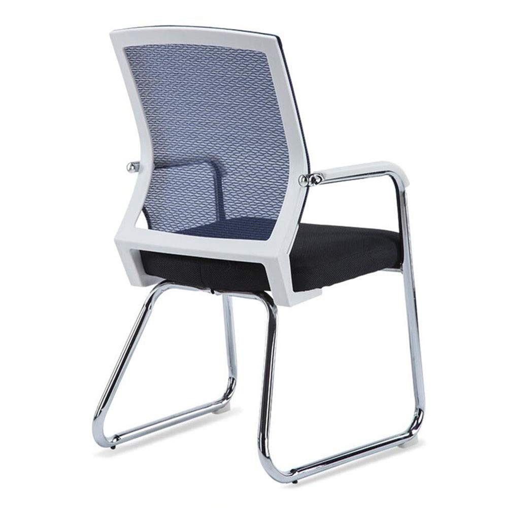 Dall Office Desk Chair Bow-Shape Ergonomic Mesh Back Conference Chair Breathable Steel Frame Lumbar Support (Color : Blue, Size : White Frame)