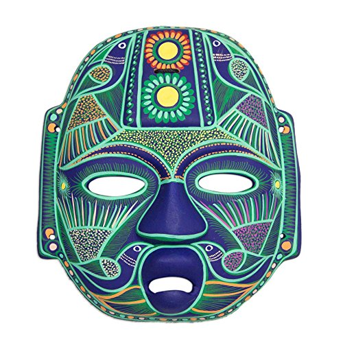 NOVICA Green and Blue Hand Painted Ceramic Wall Mask, Jade Olmec ()