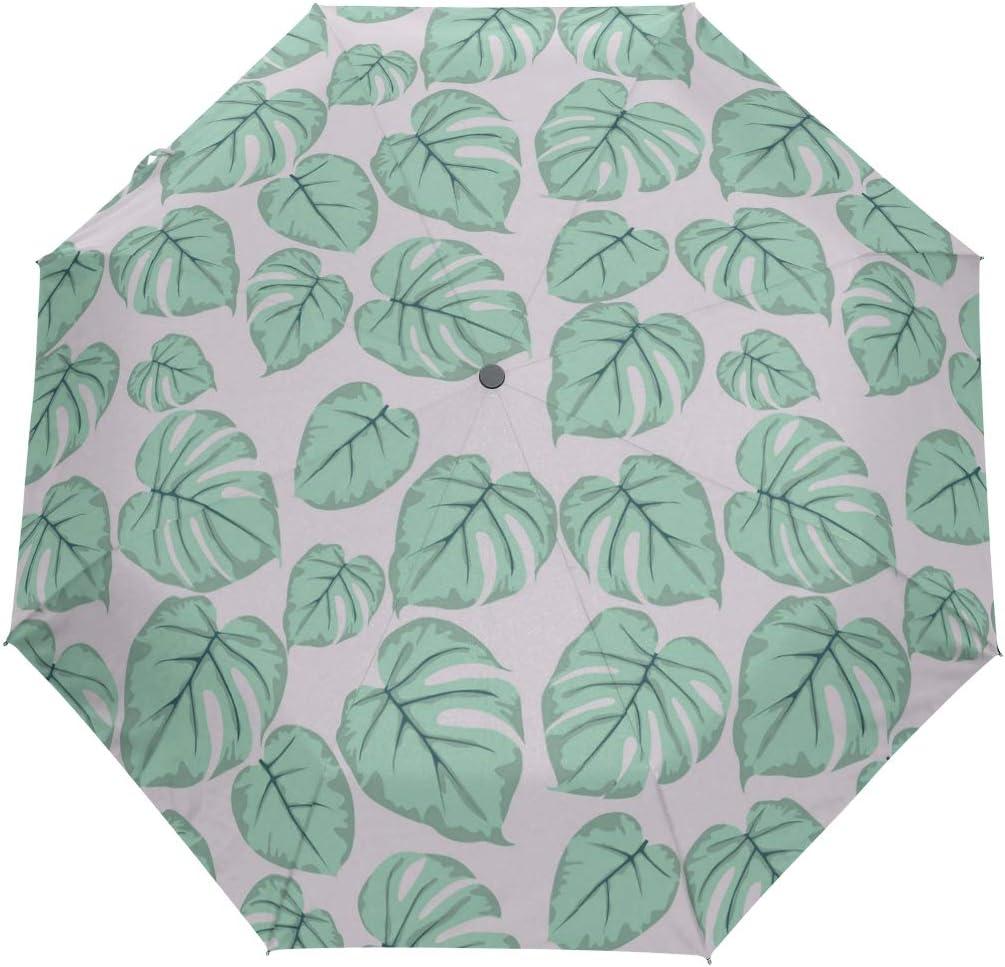 Green Artificial Tropical Leaves fashion print cute Windproof automatic tri-fold umbrella sun UV protection Sun umbrella