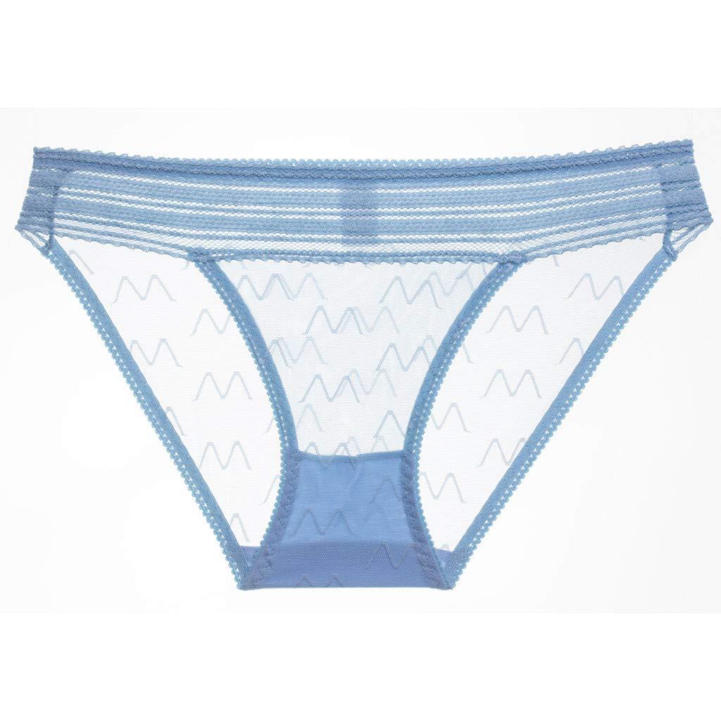 Women's Sexy Lingerie Hollow Transparent Lace Belt Low-Waist Underpant Thong