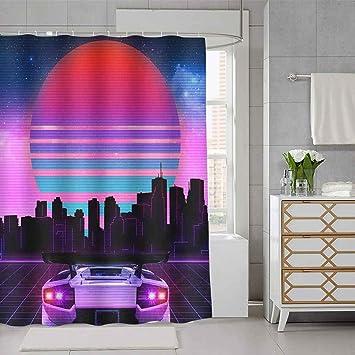 Back To The Future Fabric Waterproof Bathroom Bath Shower Curtain Accessory Set
