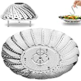 "Vegetable Steamer Basket Steaming Rack- 5.3"" Expands to 9"" - 18/10 Stainless Steel - by AMFOCUS"