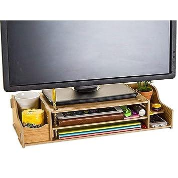 Home Neat Diy Wooden Desktop Monitor Stand Desktop Organiser Amazon