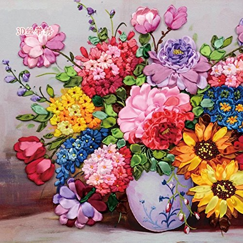 Ribbon Embroidery Kit For Beginner Flower Design DIY Home Wall Decor Blooming (Skull Embroidery Design)