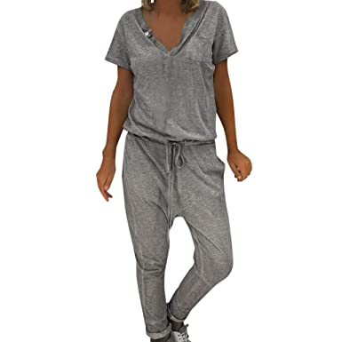 HCFKJ - Chándal Jumpsuit para Mujer, Elegante, Pantalones Largos ...