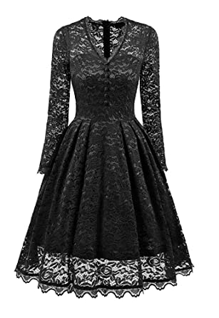 Nite Closet Gothic Dresses Lace Vintage For Women Long Sleeve Black