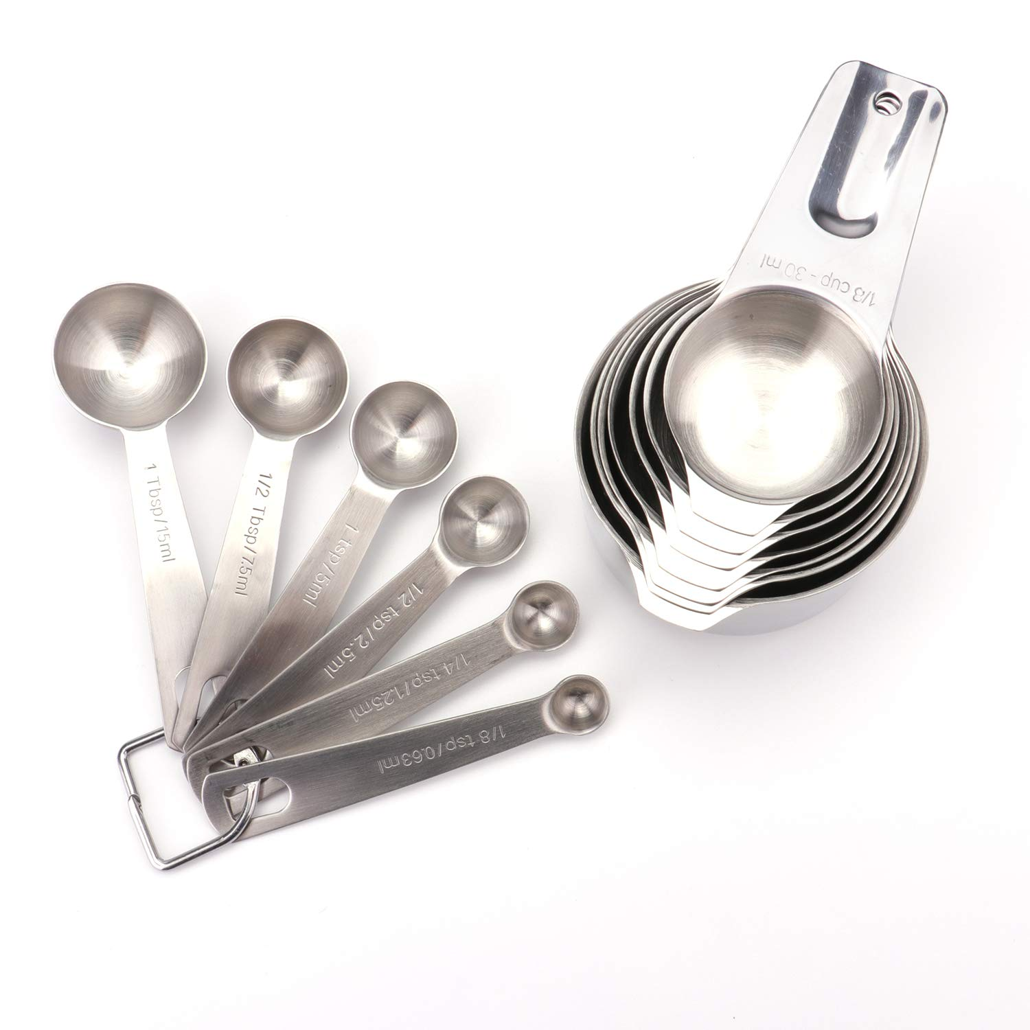 Fasmov 13 Piece Stainless Steel Measuring Cups And Spoons Set- 7 Measuring Cups and 6 Measuring Spoons with 2 D-Rings