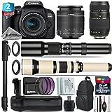 Canon EOS Rebel 800D/T7i Camera + 18-55mm IS STM Lens + 650-1300mm Telephoto Lens + Tamron 70-300mm Di LD Macro Lens + 500mm f/8.0 Telephoto Lens + Battery Grip - International Version