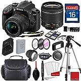 Nikon D3400 DX-format Digital SLR w/ AF-P DX NIKKOR 18-55mm f/3.5-5.6 VR Lens, Professional Accessory Bundle (17 Items)