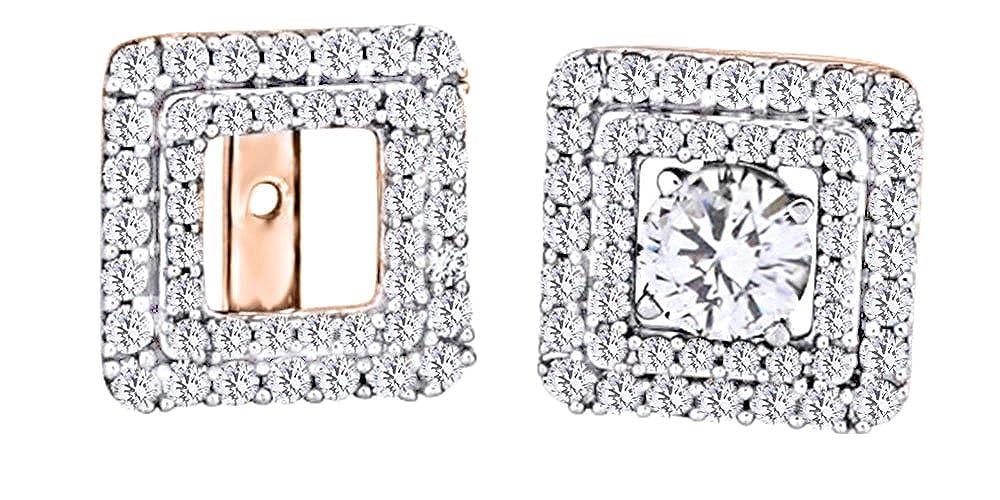 Ohrstecker, mit Diamant, quadratisch, Ohrstecker, 14 Karat 585 Weißszlig;Gold (0,62 Karat) 14 Karat RotGold