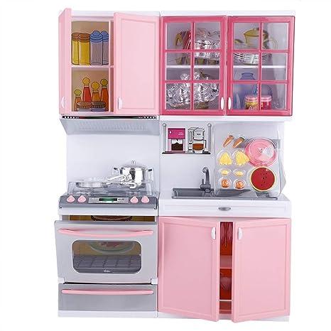 Giocattoli da Cucina per Bambini,Set da Gioco per Cucina Mini Rosa Toy  Pretend Cookware Molti Giochi Ruolo di Cucina Pretend Gioca con luci e  Suoni ...