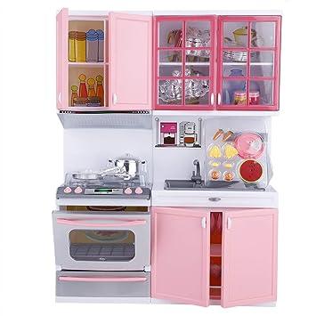Garosa Kitchen Play Set Kids Mini Pink Kitchen Cooking Set Toy