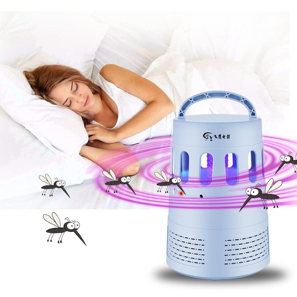 Electric Mosquito Killer Lamp 5W LED Bug Insect Trap for Home Hotel Restaurant Gessppo (Sky Blue)