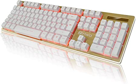 Siriwa Teclado Gaming - 3 LED Teclado para Juegos Iluminado a Contraluz - GALOOK S-300 Gaming Keyboard Layout Español - Blanco