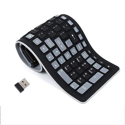 Diseño UK Teclado Flexible, Teclado de Silicona Suave Portátil Plegable a prueba de agua Cable