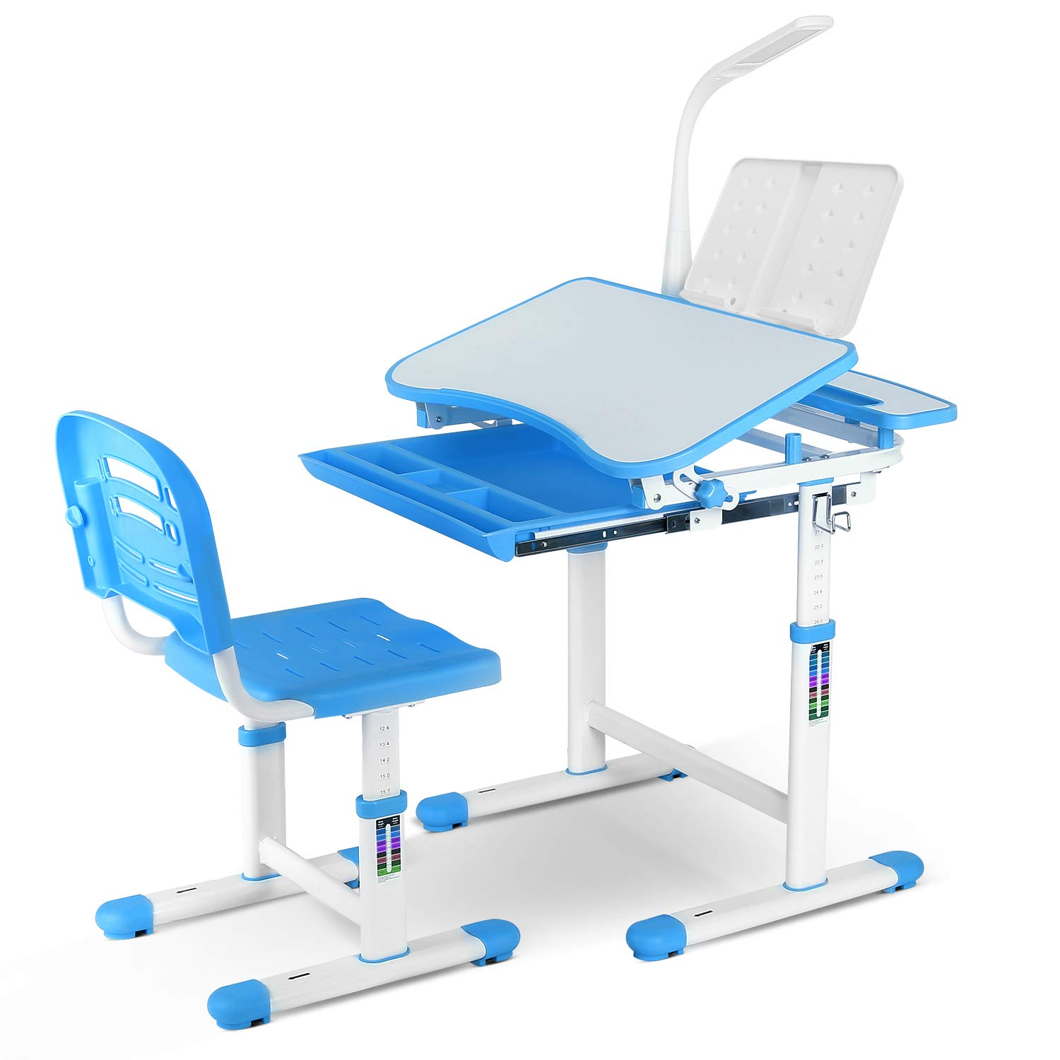 OTBY Kids Desk and Chair Set, Height Adjustable Children Study Table with Wood Tiltable Anti-Reflective Tabletop, Bookstand, Pull-Out Drawer Storage and Touch Led for School Students (Blue)