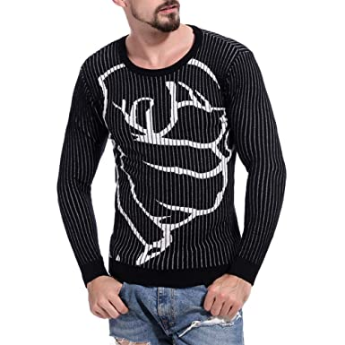 8d52bd98c341 Sikye Men s Knit Sweater Printed Pullover Casual Running T-Shirts Blouse  Long Sleeve for Winter