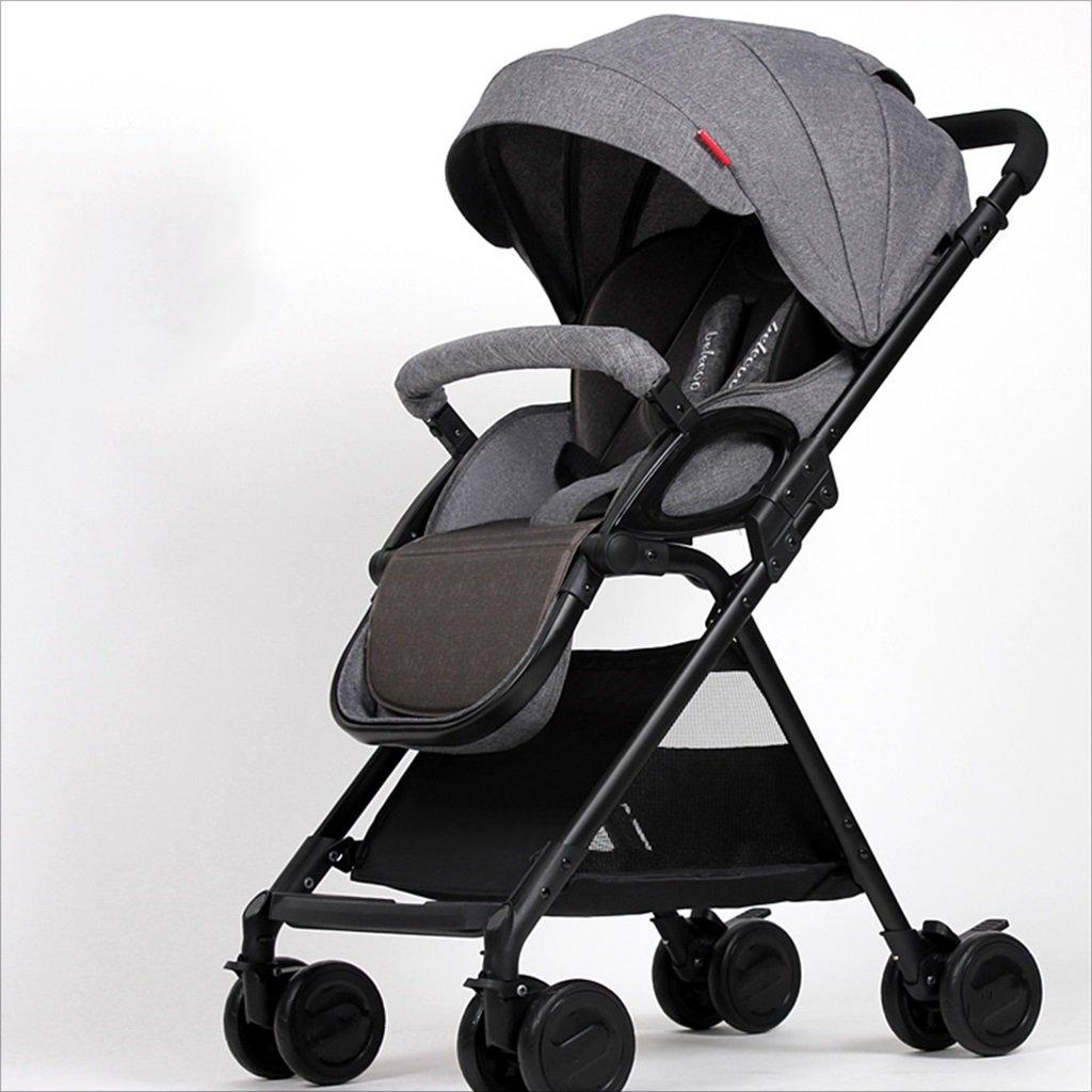 新生児の赤ちゃんキャリッジ折りたたみ可能な座って、1ヶ月の赤ちゃんをダンピングすることができます3歳の赤ちゃんの4つの車輪トロリー目覚め (色 : グレー) B07FGD1TN8グレー