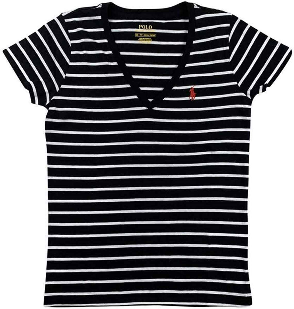 Ralph Lauren Polo Womens Striped SS V-Neck Pony Logo Shirt Black/White