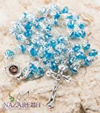 Unique Light Blue Crystal Beads Catholic Rosary with Holy Soil Medal & Crucifix