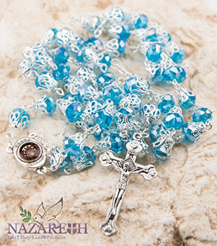 (Unique Light Blue Crystal Beads Catholic Rosary with Holy Soil Medal & Crucifix )