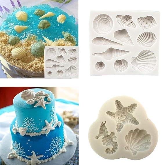 Silikon Kuchen Sea Shell Form Schokolade Strand Seestern Conch Cookies Fondant Form Seife Backen Candy Formen