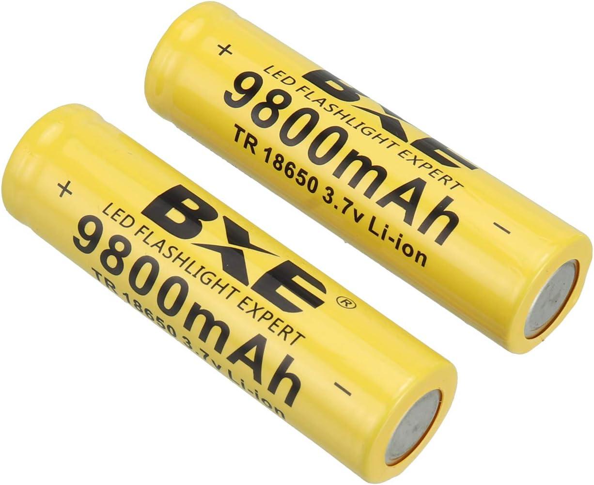 9800mAh Li-ion 3.7V Rechargeable Batteries for Flashlight Headlamp 4X Batteries18650 Battery button top