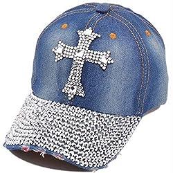 Cross Rhinestones Denim Baseball Cap
