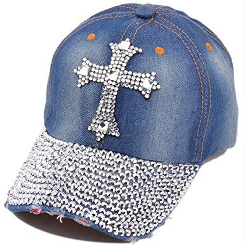 Song Jean Snapback Hat Women Men Bling Cross Rhinestones Denim Baseball Cap Dark blue