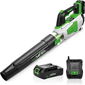 Cordless Leaf Blower Battery and Charger Electric Leaf Blower for Lawn Care SOYUS 20V 2AH 350 CFM 2 Speed Modes Lightweight Leaf Blower Battery Powered for Leaf Blowing, Snow, Debris, Dust Cleaning