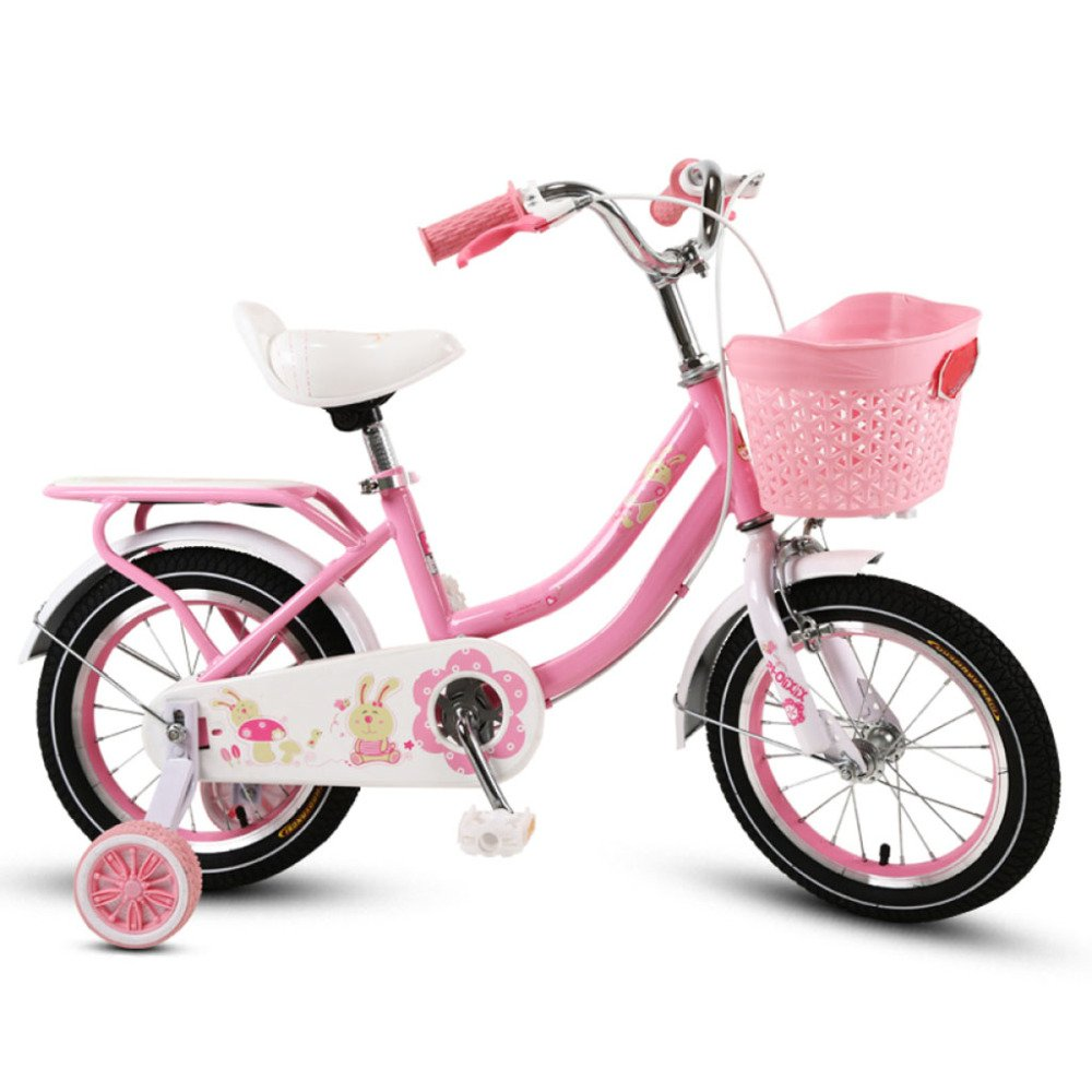 QXmEi子供の自転車高炭素鋼フレーム12 /14 /16 /18 Inch Boy Girl 2 – 4 - 4 – 6による – 9年古い子自転車 B07DNZZK45 12Inches|ピンク ピンク 12Inches