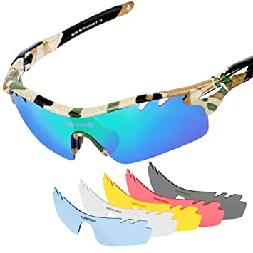 abcba5a03de Tsafrer Unisex Polarized Sports Sunglasses with 6 Interchangeable Lenses