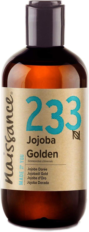 Naissance Aceite Vegetal de Jojoba Dorada n. º 233 – 250ml - Puro, natural, prensado en frío, vegano, sin hexano y no OGM - Humecta y equilibra la piel, hidrata el cabello y todo el cuerpo.