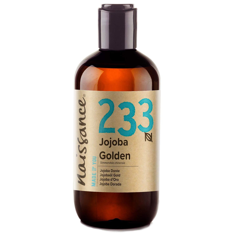 Naissance Aceite Vegetal de Jojoba Dorada n. º 233 – 250ml - Puro, natural, prensado en frío, vegano, sin hexano y no OGM - Humecta y equilibra la piel, hidrata el cabello y todo el cuerpo