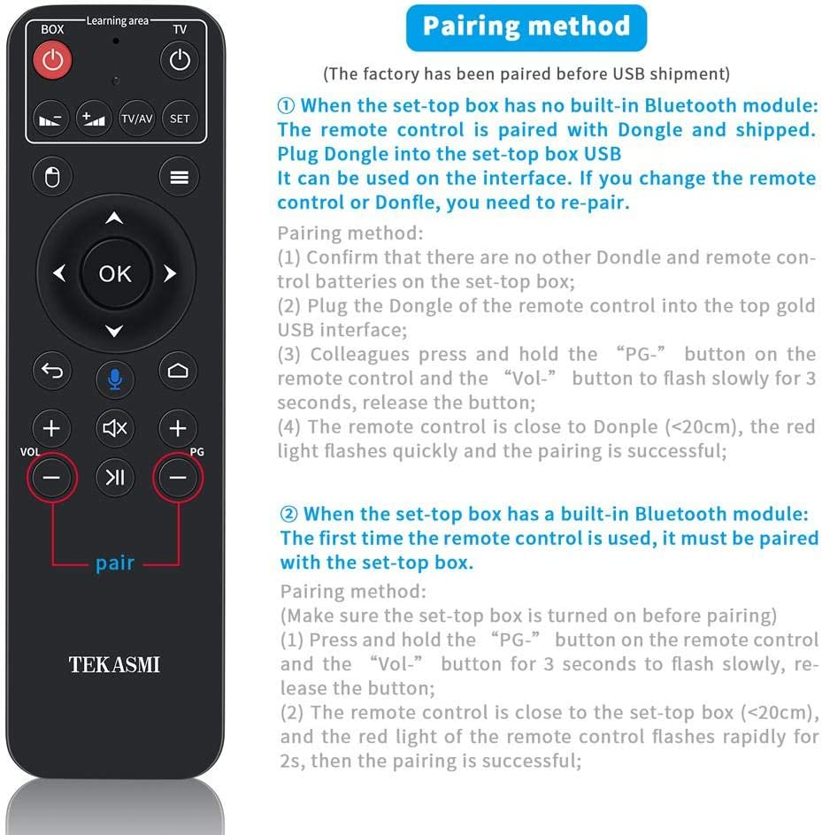 seelive 2.4G Wireless Bluetooth Remote Control Portable 6-Key Infrared Learning Flying Mouse Remote Control for Google Android TV//Box IPTV MAC OS PS3 Windows HTPC