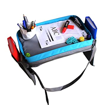 Solid Lap Desk with Large Pockets for Storage Heavy Duty Side Walls Waterproof /& Machine Washable Portable M-Aimee Kids Travel Activity /& Snack Tray Blue