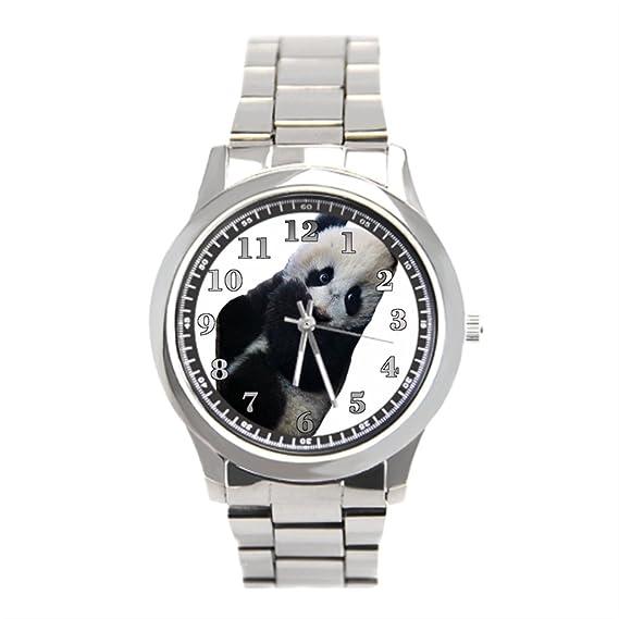 eleganceelegant Panda oso Panda reloj de pulsera Hombres de acero inoxidable