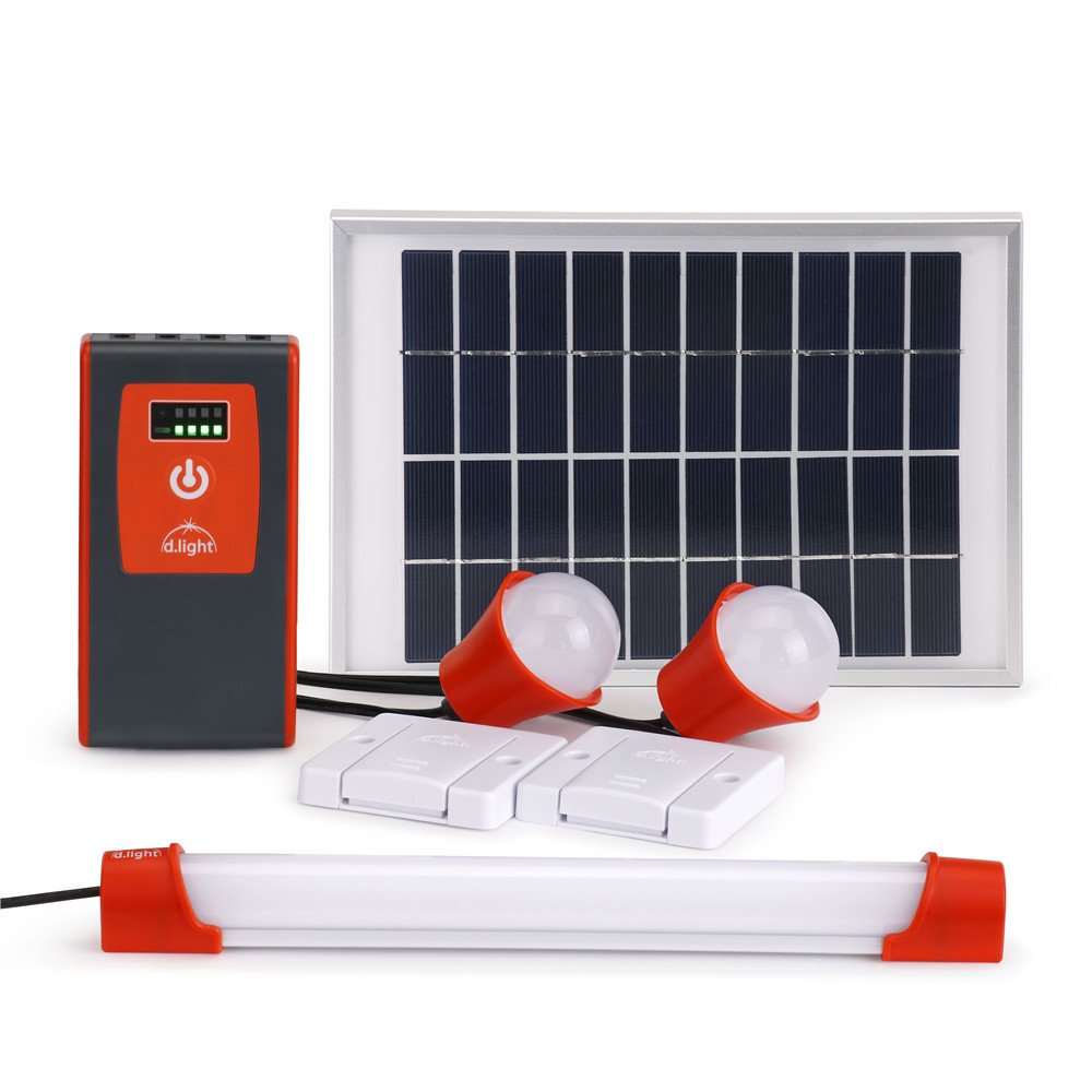 d.light D330 Solar Powered Home Lighting System - Solar System with bright LED lights and a USB port for Mobile Charging