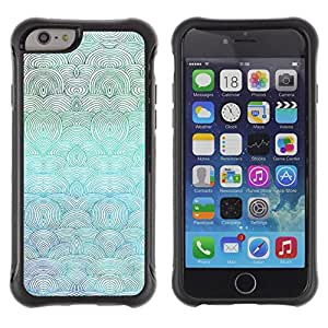 Suave TPU Caso Carcasa de Caucho Funda para Apple Iphone 6 PLUS 5.5 / Waves Art Beach Drawing Ocean Sea Blue Painting / STRONG