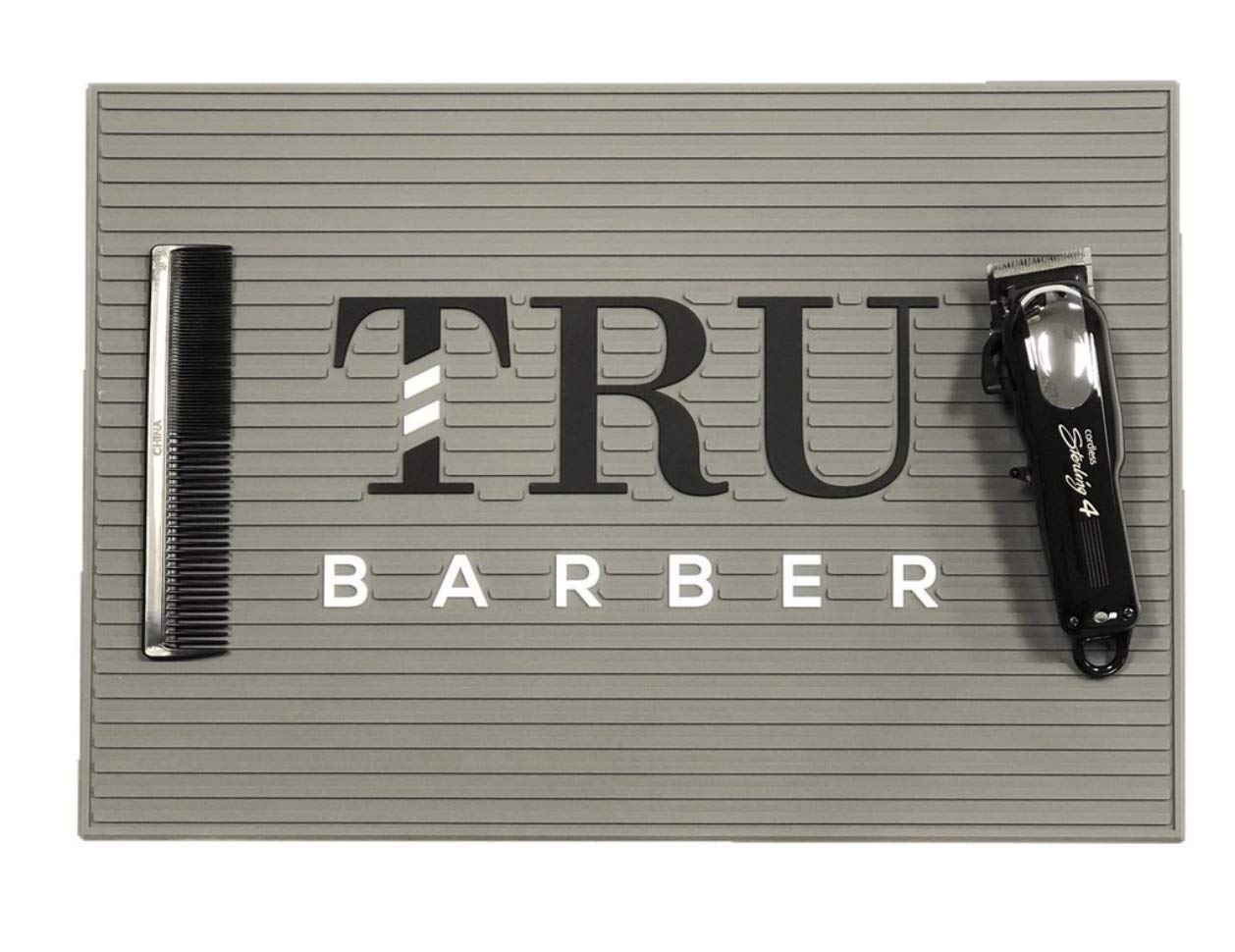Tru Barber Mat 19 x 13 Flexible PVC Station Mat, Professional Mat, Salon and Barbershop work Station pads, Beauty salon tools hairstylist, Counter mat for clippers, Anti slip GREY