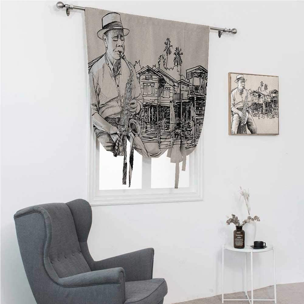 GugeABC Curtains Blackout Jazz Music Tie Up Window Shade for Home Art with Jazz Saxophonist Playing at River Bank Palm Trees Bungalow Reflection 48
