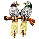 Couple Parrot Crystal Brooch Pin