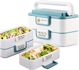 Lunch Box Portable Stackable Lunch Box Reusable, Stainless Steel Food Carrier Container, Bento Box Container for School Office Picnics Outdoors enjoy a hot lunch on the go.