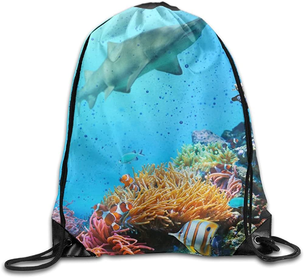 Sharks Reef Drawstring Bags Portable Backpack Sport Daypack